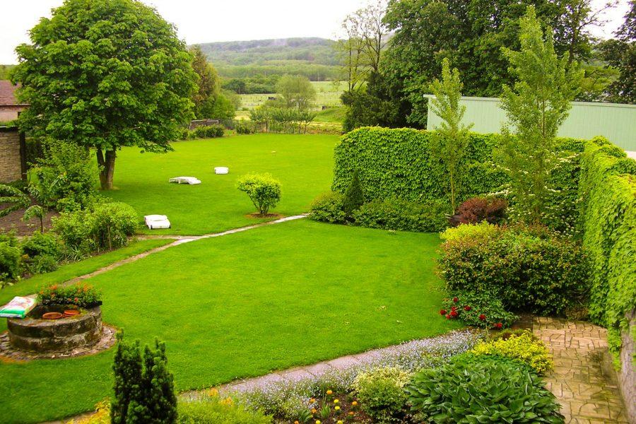 Vue sur le jardin depuis la chambre Roseraie et Blés d'or